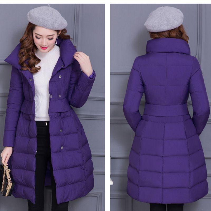 Couleur Coton Moyen D'hiver Manteau Pur Chaude Épais Mode Veste Col Slim brown Wlx380 Chaud 2018 Femmes purple Colour caramel Long Stand Black De 0rp0qA