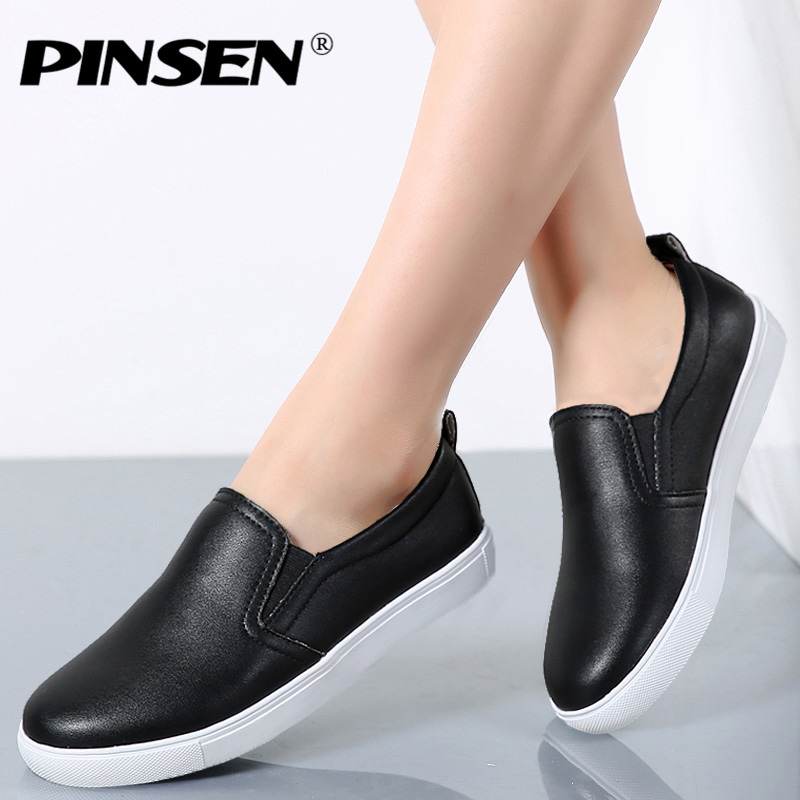 PINSEN Women Flats Leather Shoes 2018 Spring Fashion Moccasin Slip On Flat Loafers Casual Shoes Woman Slipony Black Shoes pinsen women flat platform shoes woman moccasin zapatos mujer platform sandals slip on for ladies shoes casual flats moccasins