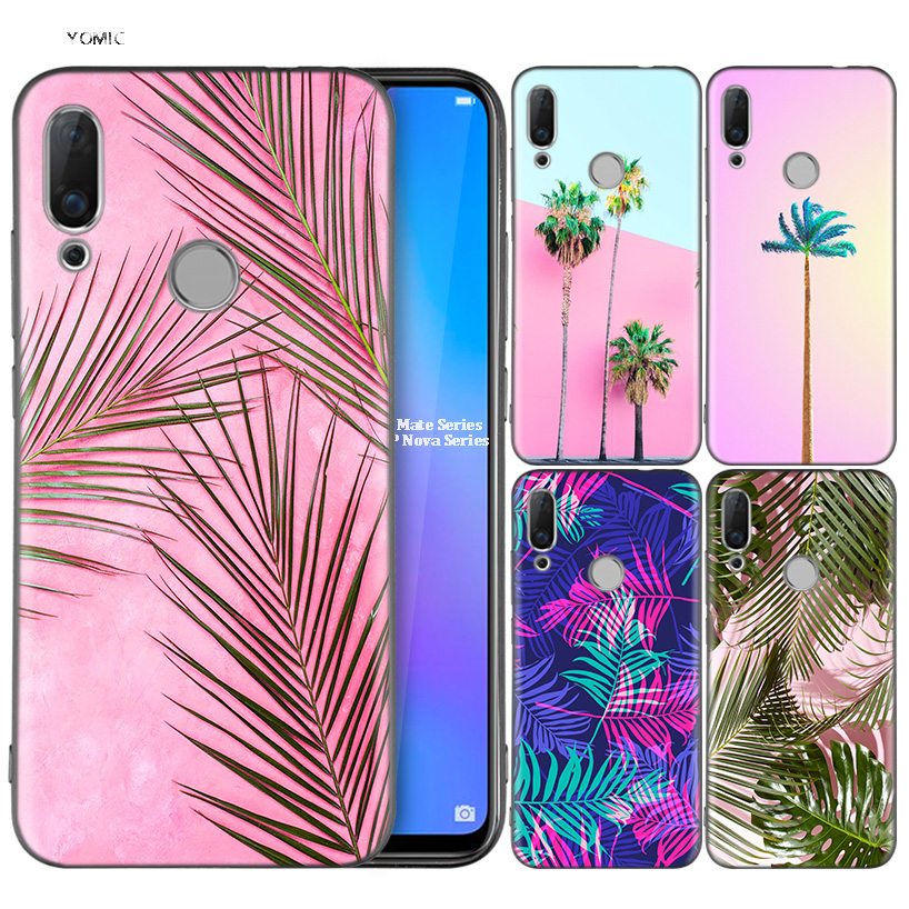 Silicone Coque Case for Huawei P30 P20 P10 P9 Mate 20 10 Lite Pro Nova 3i 4e 3E P Smart 2019 2018 Plus Pink Palms