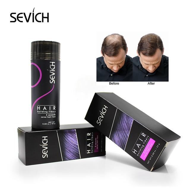 Sevich יופי סיבי קרטין שיער אבקת סטיילינג מילוי 25g שיער סיבי בניין להסתיר דק שיער אובדן שחור ריסים הארכת