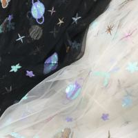 e335e646a7f87f Galactic Star Planets Sequins Embroidery Lace Fabric Garments Translucent  Mesh Gauze Fabric 2018 Designer New Material