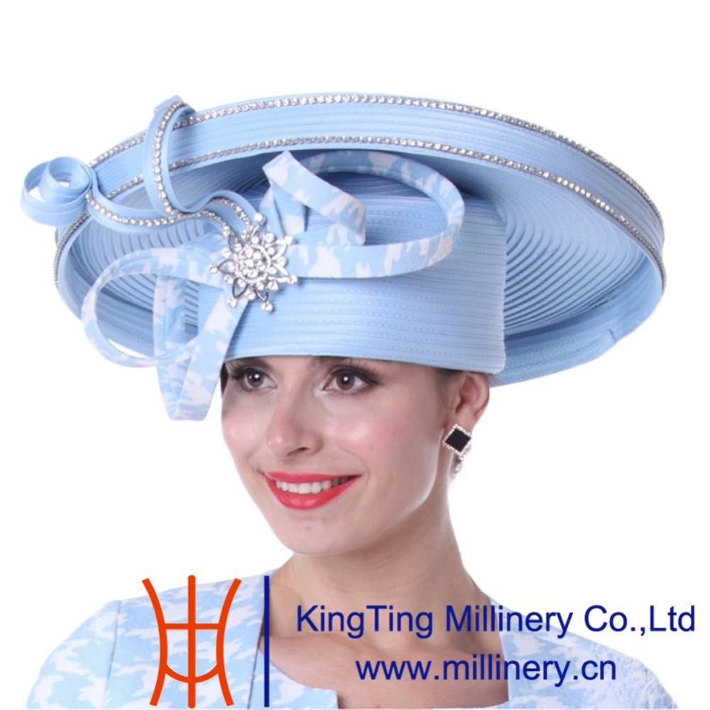 09f1a340f57 Kueeni Women Church Hats New Designed Royal Blue Ladies Elegant High Noble  Diamond Casing Large Size Wide Brim Party Dress Hats-in Fedoras from  Apparel ...
