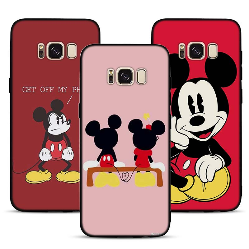 Minnie Mouse Pattern Soft Silicone Black Cellphone Cases for Samsung S7 S7edge S8 S8Plus S9 SPlus Note 8