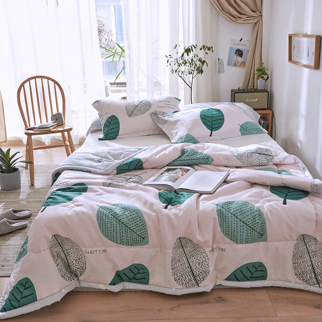 Fallen Leaves Printed Spring Summer Comforter Sets Cotton Quilt Pillowcase 2/3 PC Single Double Bed Kids Adult Bedding Sets