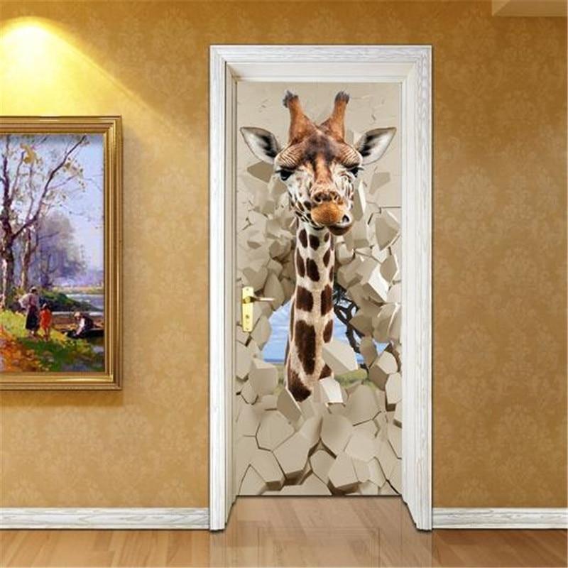 3D Self-Adhesive Door Stickers 3D Stereoscopic Cartoon Giraffe Brick Door Murals for Bedroom Living Room Bathroom Wall Sticker