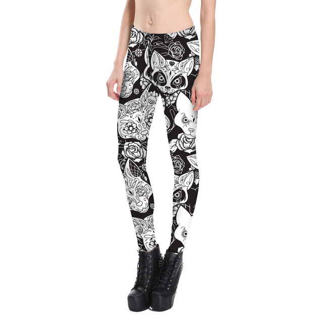 Skull Cat Print Fitness Leggings Women Leggins Push Up Legging Black Slim High Waist Elastic Workout Leggings Winter Plus Size