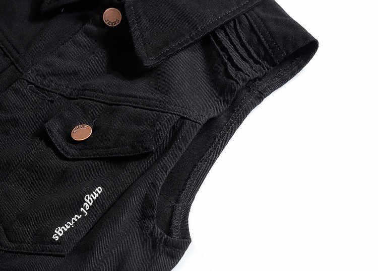 3XL สีดำ Denim Vest Men Angel Wings พิมพ์ล้างกางเกงยีนส์ Man คาวบอย Ripped เสื้อ Hip Hop 2019 ใหม่แฟชั่น