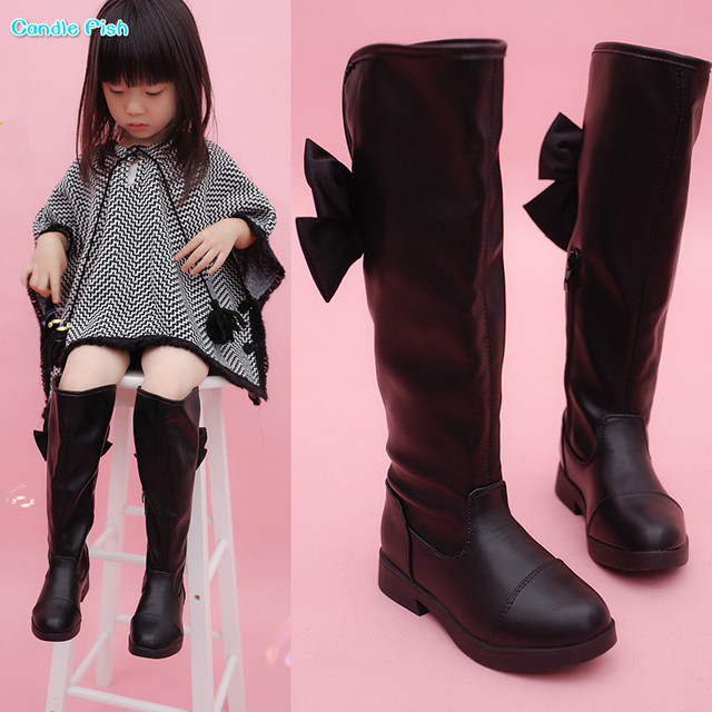 7b7885b6cd9 2018 autumn and winter new girls bow boots black over knee high boots  fashion boots