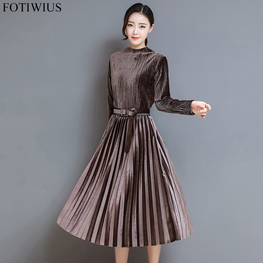 17c39ce725dc ... 3XL Plus Size Women Long Sleeve Vintage Black Velvet Dress Autumn  Winter Pleated Dress Ladies Elegant ...