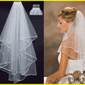 2016 White/Ivory Two Layer Bridal Veil Satin Edge Wedding Veil With Comb Cheap Simple And Elegant Short Bridal Veil