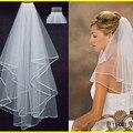 2016 branco / marfim duas camadas véu de cetim borda véu de noiva com pente barato simples e curto véu de noiva