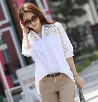 2017 Women Casual Basic Summer Lace Chiffon Blouse Hollow Out Embroidery Patchwork Fashion Top Shirt White