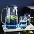 1500ML Neue Borosilica Glas Teekanne Set Mit Abdeckung Gold Griff Tassen Für obst Saft Wasser und Kaffee Tee Topf blume Große Wasserkocher-in Teekannen aus Heim und Garten bei