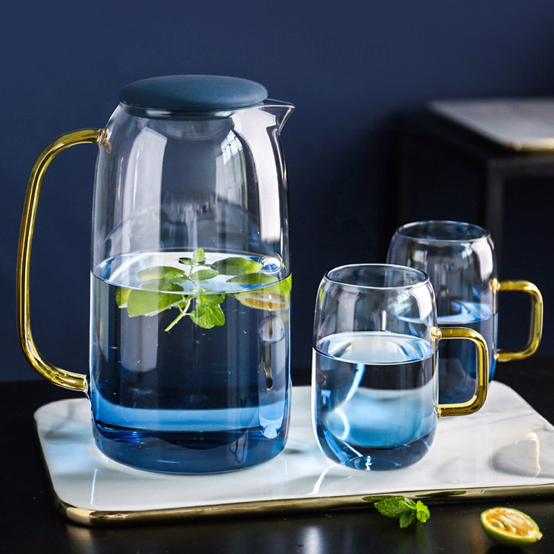 1500ML New Borosilica Glass Teapot Set With Cover Gold Handle Cups For Fruit Juice Water And Coffee Tea Pot Flower Large Kettle