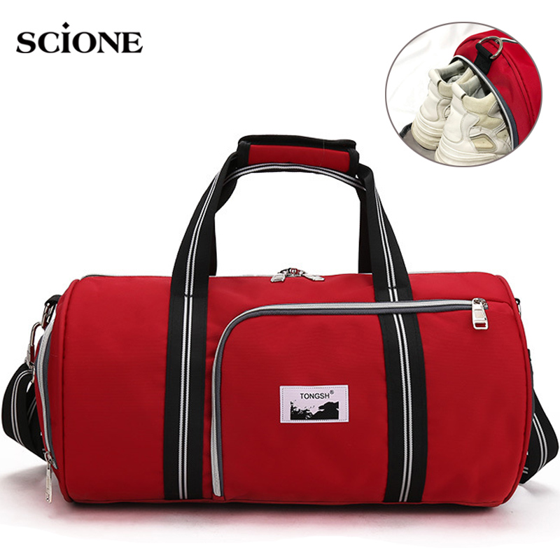 Outdoor Sport Fitness Gym Bags Men Women Training Shoulder Handbag Travel Tote Shoes Weekend Bag Red Sac Sport Gymtas XA709WA