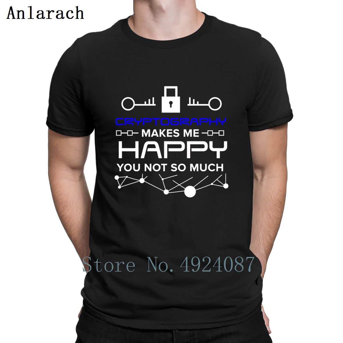 Cryptography Makes Me Happy T Shirt Creature Round Neck Hip Hop New Arrival Streetwear Anti-Wrinkle Unique Great Summer Style