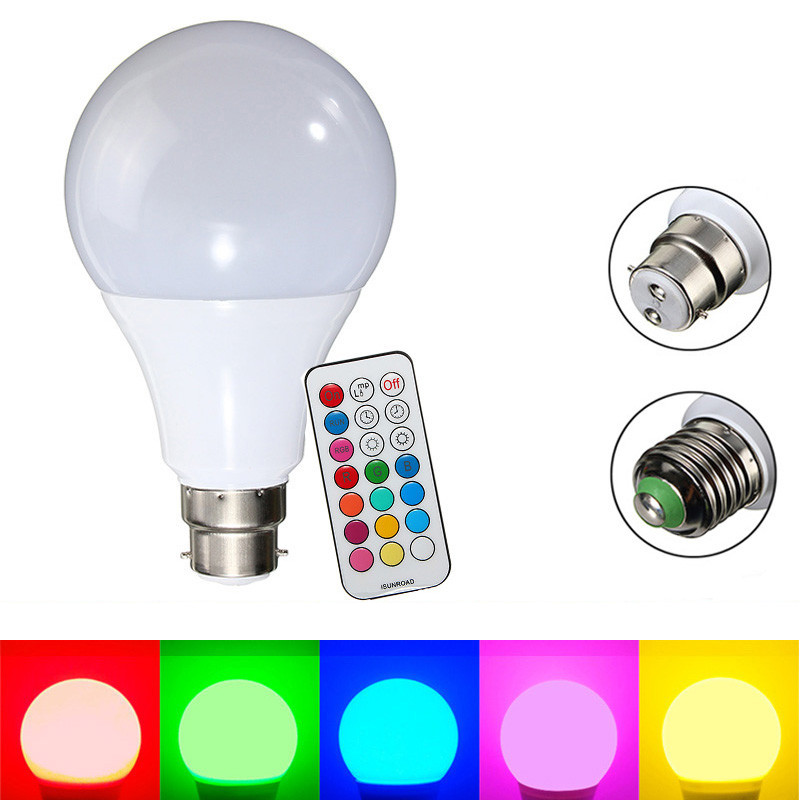 LED Lamp Bulb E27 B22 10W Dimmable RGB RGBW Color Changing Decor LED Light Bulb 220V 110V With Remote Control Holiday Lighting icoco rgbw led light bulb wifi remote control smart lighting lamp color change dimmable led bulb for android ios phone