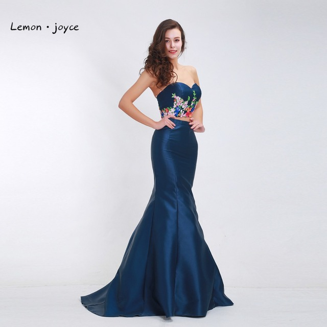 751dfcd623b Azul oscuro vestidos de noche largo sirena 2019 apliques cariño dos pieza elegante  vestidos Sexy vestidos