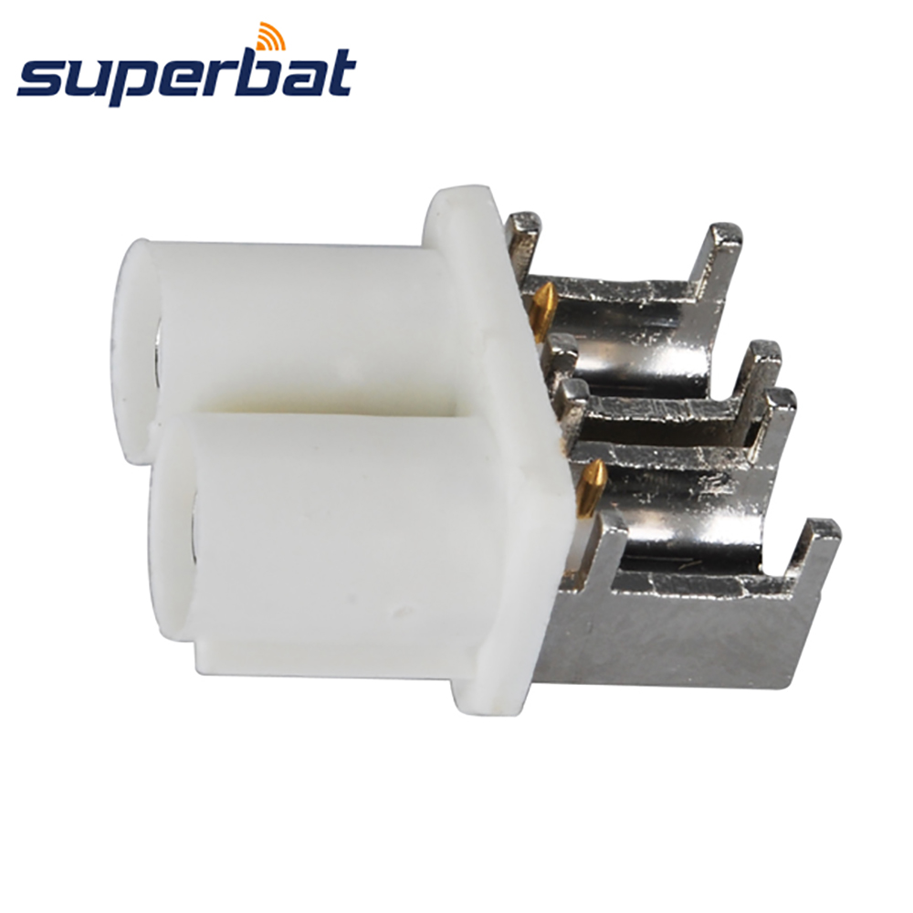 Superbat Fakra B White/9001 Male Plug End Launch PCB Mount Right Angle Double-Headed Connector Radio With Phantom