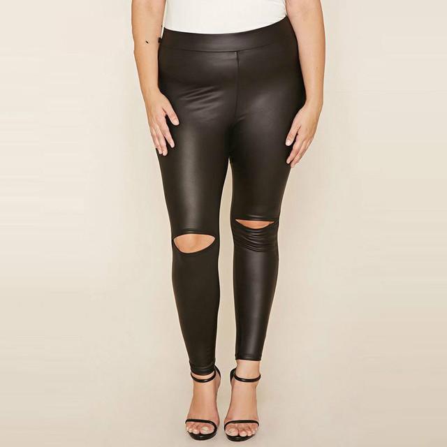 Rasgado Agujero Leggings Mujeres Más Tamaño Leggins Faux Cuero de LA PU Legging pantalones 3xl 4xl 5xl 6xl Cintura Delgada Elástico Flaco Otoño Pant