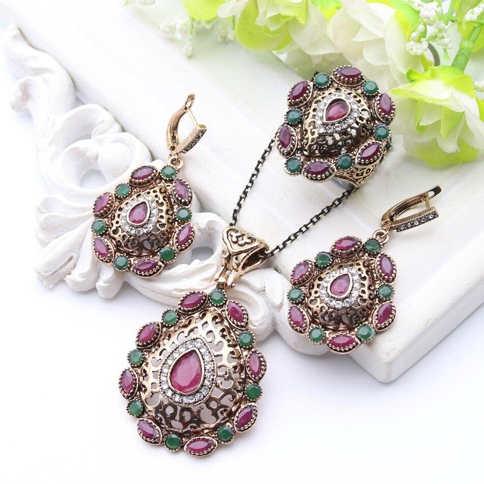 תכשיטים מגדיר חמה למכירה תורכי עתיק צבע זהב חלול מתוך פרחוני עגיל ושרשרת וטבעת אביזרי חתונת נשים שמלה