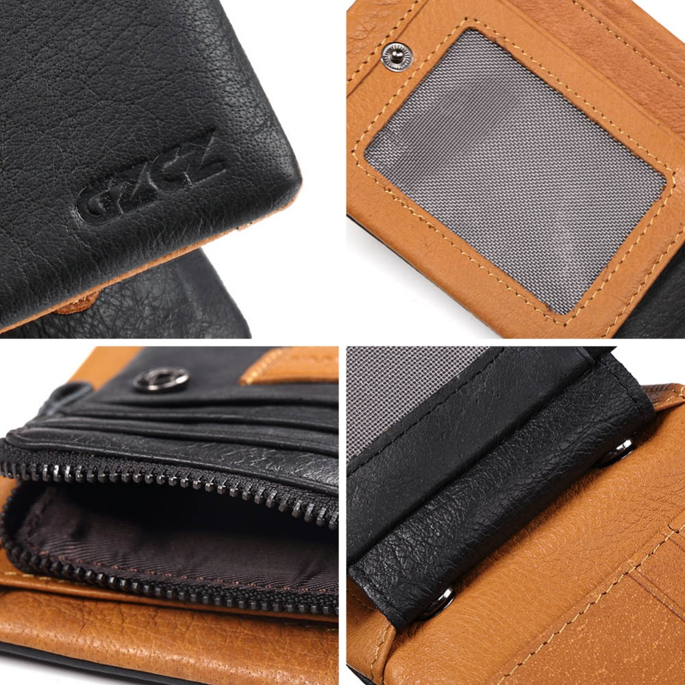 Image 3 - GZCZ 2018 Genuine leather Men Wallet Clamp For Money Card Holder Male Purse Drop Shopping Free engraving PORTFOLIO MAN Money Bagleather mens walletgenuine leather men walletman money bag -