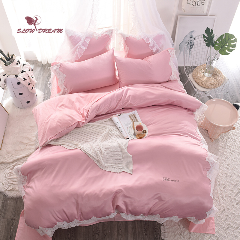 SlowDream Luxury Lace Pink Silk Bedding Set Soft Silky Duvet Cover Comfort Home Textiles Silky Bedspread With Flat Sheet 4Pcs