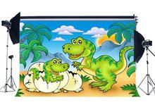 Dinosaur Backdrop Jurassic Period Cartoon Backdrops Coconut Tree Blue Sky White Cloud Fairytale Photography Background