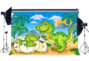 Image 1 - Dinosaur Backdrop Jurassic Period Cartoon Backdrops Coconut Tree Blue Sky White Cloud Fairytale Photography Background
