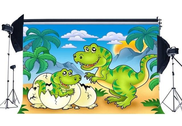 Dinosauro Sfondo Jurassic Periodo Del Fumetto Fondali Albero di Cocco Nube Bianco Cielo Blu Fairytale Fotografia di Sfondo