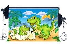 Dinozor Zemin Jurassic Dönem Karikatür Arka Planında Hindistan Cevizi Ağacı Mavi Gökyüzü Beyaz Bulut Peri Masalı Fotoğraf Arka Plan