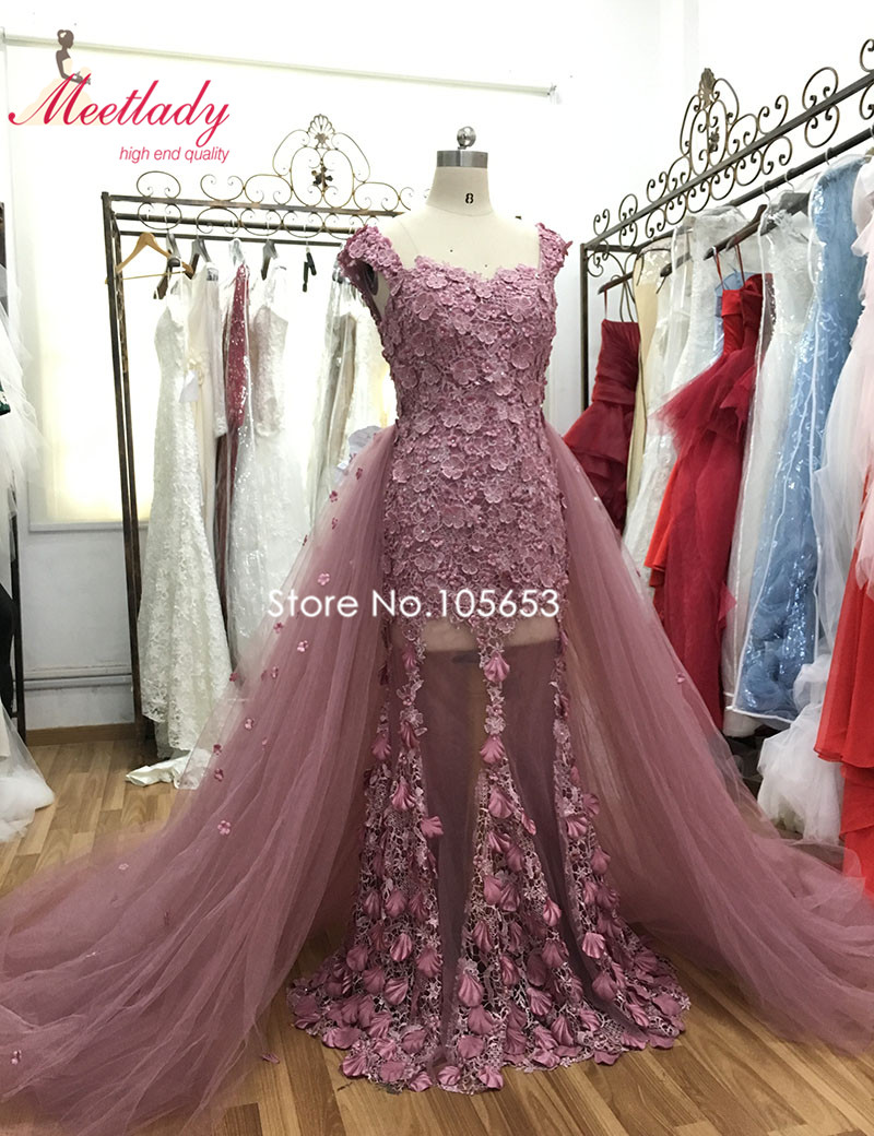 Купить с кэшбэком Elegant Mermaid Lace Evening Dress With Detachable Train Cap Sleeves robe de soiree 2020 Elegant 3D Flowers Vestido De Noche