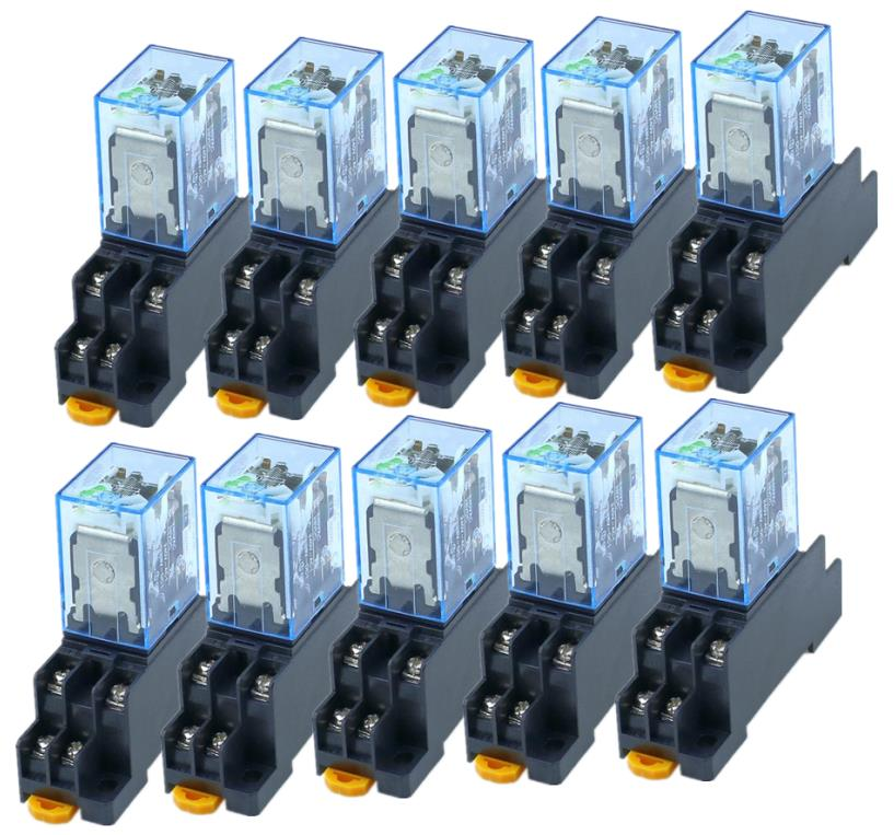 10pcs MY2P HH52P MY2NJ 12V 24V DC / 110V 220V AC coil general purpose DPDT micro mini relay with socket base