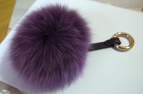a3c34d98a0f Fluffy Keychains Fox Fur Puffs Ball Purse Charm Pompoms Women Bag Fashion  Accessories Handbag Charm Dark Purple Fox Puffy Ball