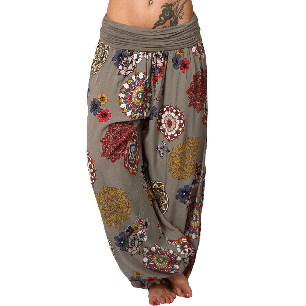 2019 Summer Women Casual Loose   Pants   Boho Printed   Pants     Capris   Femme Bohemian Ladies Baggy High Waist Beach Trousers