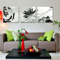 유화 인쇄 흑백 중국 스타일의 연꽃 물고기 현대 벽 예술 거실 캔버스 그림
