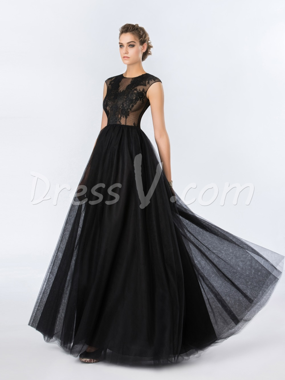Long Black Evening Dresses 2016 Sheer Dot Net Lace Top Open Back ...