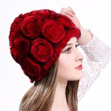 New Winter Women Fashion Real Knitted Rabbit. Fur Hats Lady Winter Warm Caps Roses Thickened Wool Cap 11 Color