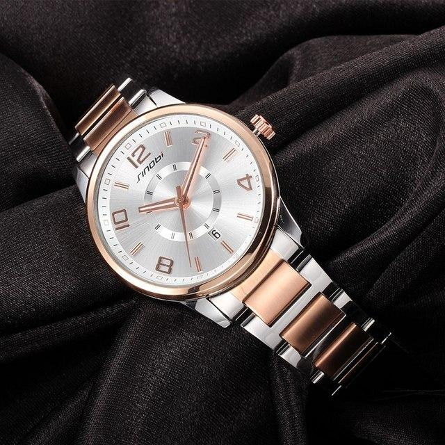 SINOBI 제네바 시계 황금 여성 패션 시계 팔찌 손목 시계 날짜 쿼츠 시계 유명 브랜드 숙녀 Montre Femme