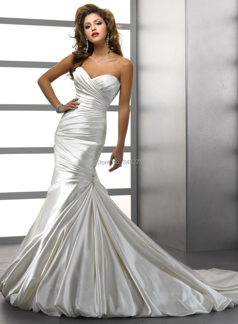 Simple Elegance Soft Shimmer Satin Ruched Mermaid Wedding Dresses With Bubble Hem Crystal Motifs And Bow