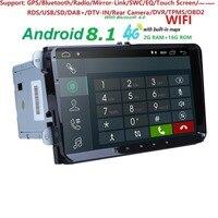 2Din 9 Android8.1 DVD плеер автомобиля стерео радио для V W Гольф 5 6 поло Passat CC J etta Tiguan Touran gps навигации 2G RAM 4G