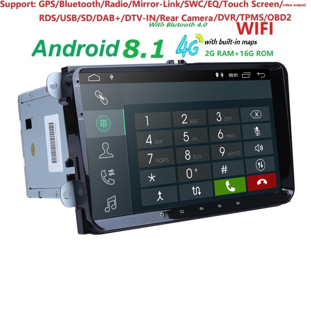 2Din 9Android8.1 Car DVD Player Stereo Radio for V W GOLF 5 Golf 6 Polo Passat CC J etta Tiguan Touran GPS Navigation 2G RAM 4G