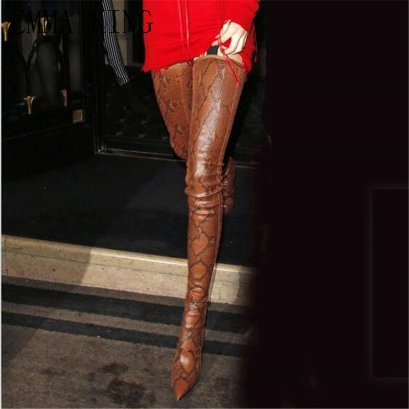 Picture Stiletto Pointu Picture Taille Femmes Cuir Serpent Motif Long Hauts 35 43 Brun Cuissardes Grande as Botas Bottes En Talons Bout As 1qznHEw
