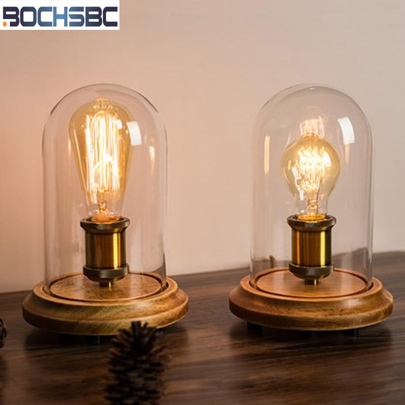 BOCHSBC Loft Solid Wood Table Lights for Bedrom Bedside Light Cafe Home Decor Desk Lamp with Glass Shade Lampe de table Lampada