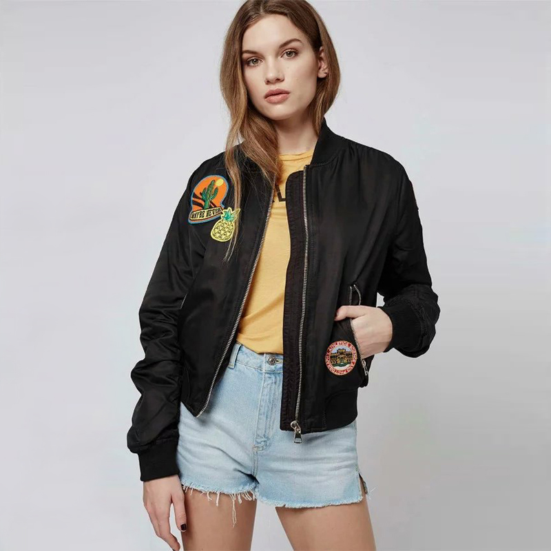 Vintage MA1 Flight Bomber Jackets Embroidered Patches Women Jet Setting Style Pilot Outfits ...