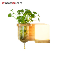 LED Plant Wall Lamps Bed Room Bedside Wood Lights Modern Corridor Lamp Japanese Style Indoor Lighting With Led Bulbs WL09