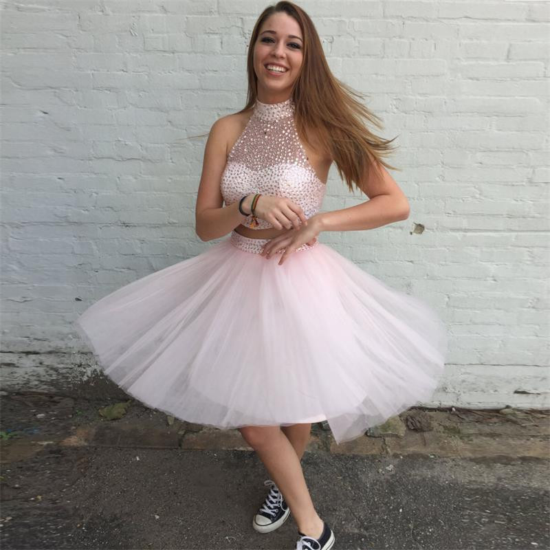 919b1956a2a Sparkly Pink Two Piece Tulle High Neck Sleeveless Short Homecoming Dress  With Beaded Bodice 2016 New