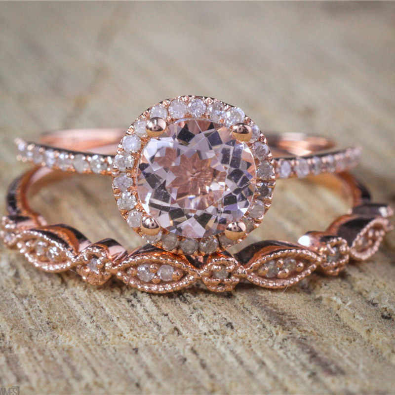 ZORCVENS Female Square Ring Set Luxury Rose Gold Color Ring Vintage Wedding Band Promise Engagement Rings For Women