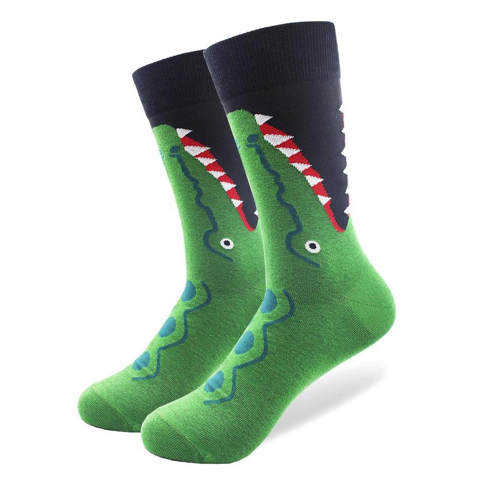 High Quality Combed Cotton Funny Men Socks with Animal Zebra Crocodile Pattern Design Happy Crew Wedding Socks Cool Casual