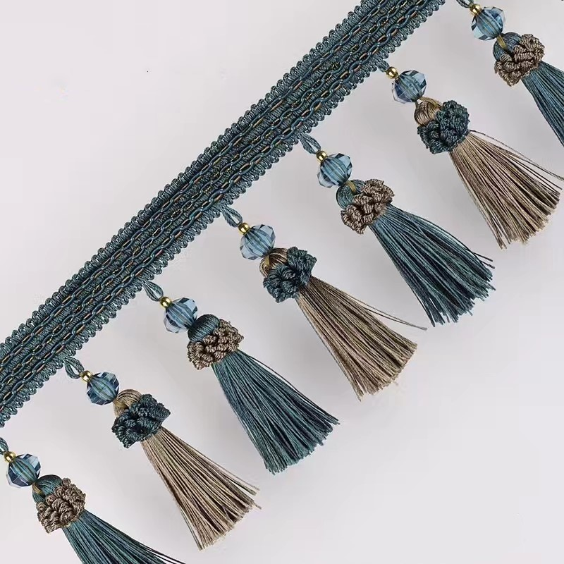 5CM/'S WIDE APPROX SOLD PER METRE BLUE TASSEL TRIM//CURTAIN FRINGE